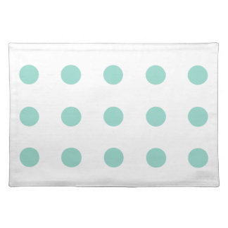 Cool aqua Polka Dots on White Cloth Placemat