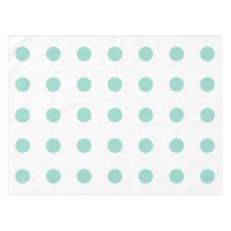 Cool Aqua Polka Dots on White Tablecloth