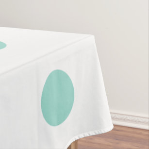 Delicieux Cool Aqua Polka Dots On White Tablecloth