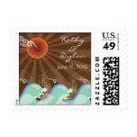 Cool Aqua Waves and Brown Sun Beach Wedding Stamps