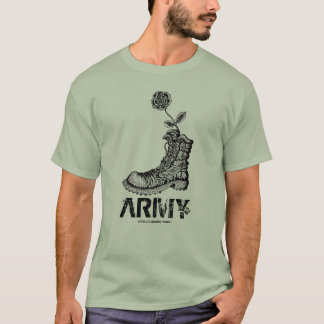 Cool army boot with flower t-shirt design