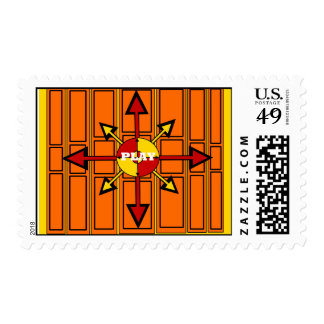 Cool arrow emblem with play postage