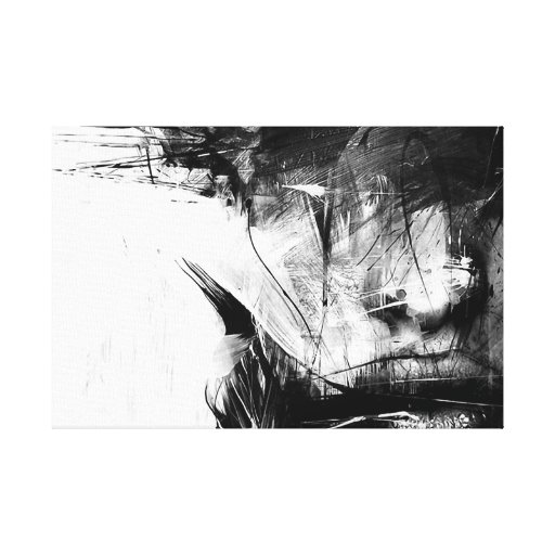 Cool art abstract black white face woman gallery wrapped Black and white canvas art