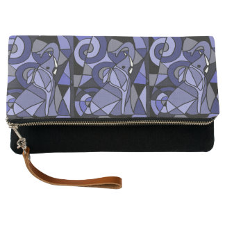 Cool Artistic Blue Elephants Abstract Clutch Bag