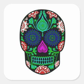 Cool Artistic Multicolored Skull w/ Floral Designs Square Sticker