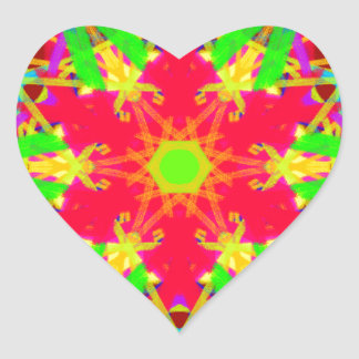 Cool Artistic Star Shaped Psychedelic Pattern Heart Sticker