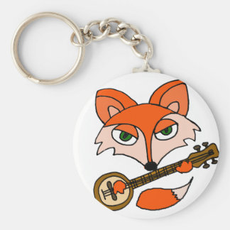 Cool Artsy Red Fox Playing Banjo Art Keychain