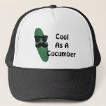 """Cool As A Cucumber Trucker Hat<br><div class=""""desc"""">A cucumber wearing shades and a mustache expresses  &quot;Cool As A Cucumber&quot;.</div>"""