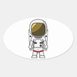 Cool Astronaut Cartoon Design Oval Sticker