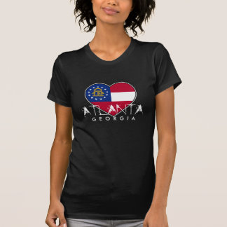 Cool Atlanta Georgia Flag Heart Shirt for Women