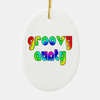 Cool Aunts Christmas & Birthdays : Groovy Aunty Double-Sided Oval Ceramic Christmas Ornament