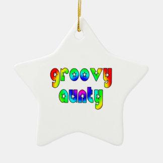 Cool Aunts Christmas & Birthdays : Groovy Aunty Double-Sided Star Ceramic Christmas Ornament