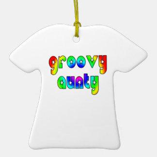 Cool Aunts Christmas & Birthdays : Groovy Aunty Double-Sided T-Shirt Ceramic Christmas Ornament