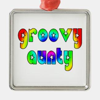 Cool Aunts Christmas & Birthdays : Groovy Aunty Square Metal Christmas Ornament