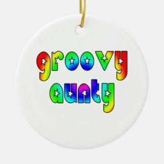 Cool Aunts Christmas & Birthdays : Groovy Aunty Double-Sided Ceramic Round Christmas Ornament