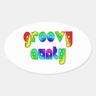 Cool Aunts Christmas & Birthdays : Groovy Aunty Oval Sticker