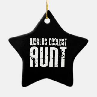 Cool Aunty Aunts Aunties : Worlds Coolest Aunt Double-Sided Star Ceramic Christmas Ornament