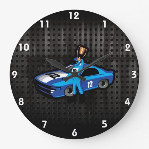 Cool Auto Racing Large Clock