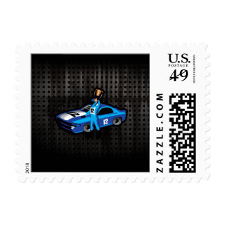 Cool Auto Racing Postage Stamps
