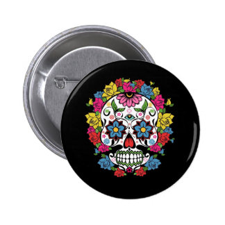 Cool awesome colourful swirls dots flowers skull 2 inch round button