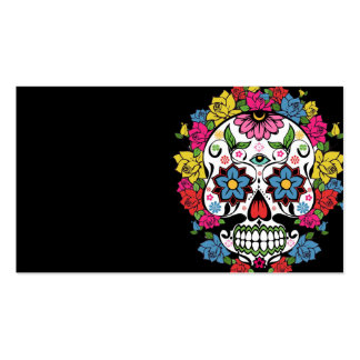 Cool awesome colourful swirls dots flowers skull business card
