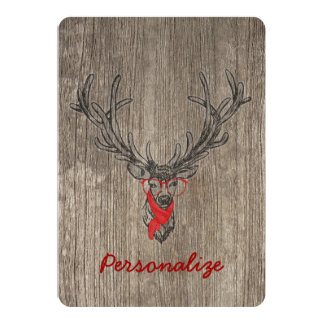 Cool awesome funny trendy deer sketch 5x7 paper invitation card