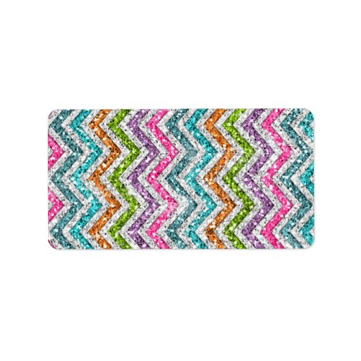 Cool awesome trendy bright colours chevron zigzag label