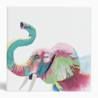 Cool awesome trendy colorful vibrant elephant 3 ring binder