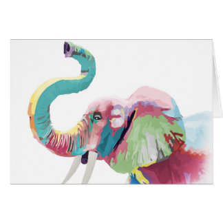 Cool awesome trendy colorful vibrant elephant card
