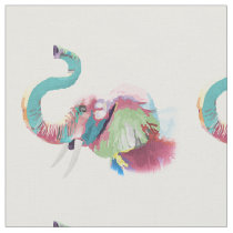 Cool awesome trendy colorful vibrant elephant fabric