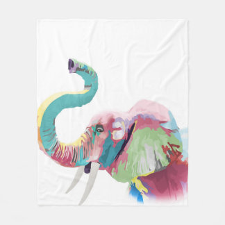 Cool awesome trendy colorful vibrant elephant fleece blanket