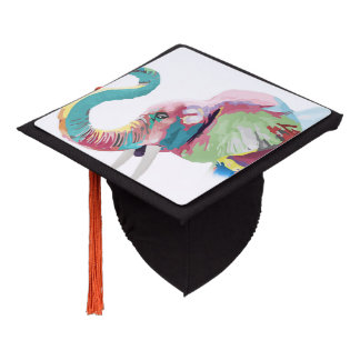 Cool awesome trendy colorful vibrant elephant graduation cap topper