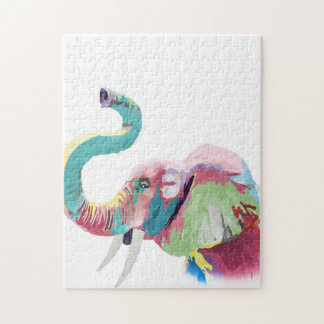 Cool awesome trendy colorful vibrant elephant jigsaw puzzle