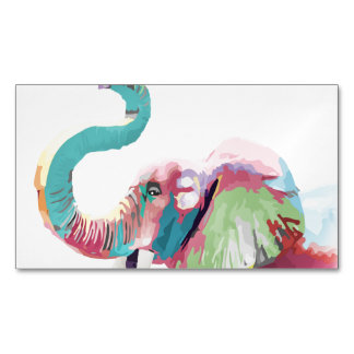 Cool awesome trendy colorful vibrant elephant magnetic business card