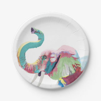 Cool awesome trendy colorful vibrant elephant paper plate