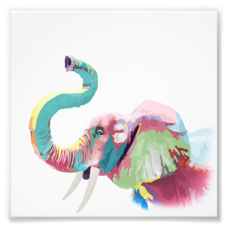 Cool awesome trendy colorful vibrant elephant photo print