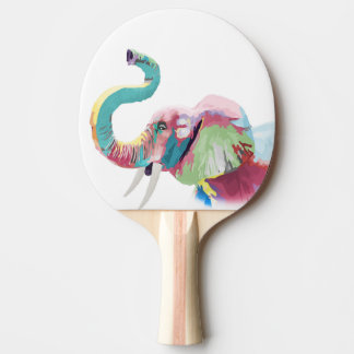 Cool awesome trendy colorful vibrant elephant Ping-Pong paddle