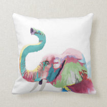 Cool awesome trendy colorful vibrant elephant throw pillow