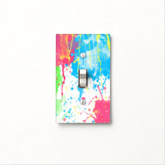 Cool awesome trendy colourful vibrant watercolours light switch plate