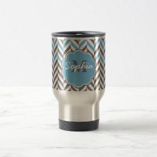 Cool awesome trendy monogram herringbone zigzag travel mug
