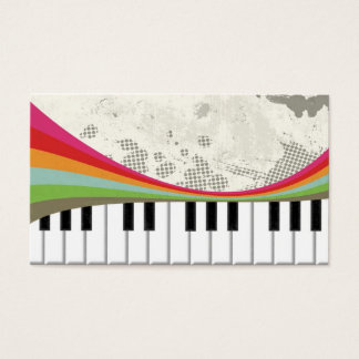 Cool awesome trendy piano retro colours stripes business card
