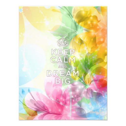 """Cool awesome trendy quote """"Keep Calm and Dream Big Personalized Announcements"""