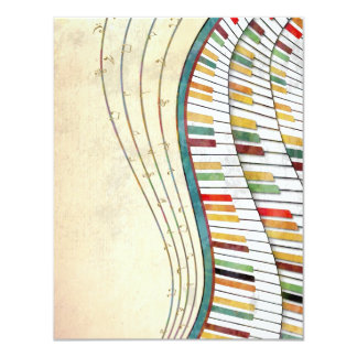 Cool awesome wavy piano retro colours antique card