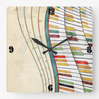 Cool awesome wavy piano retro colours antique square wall clock