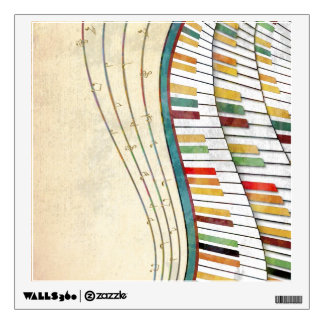 Cool awesome wavy piano retro colours antique room graphic