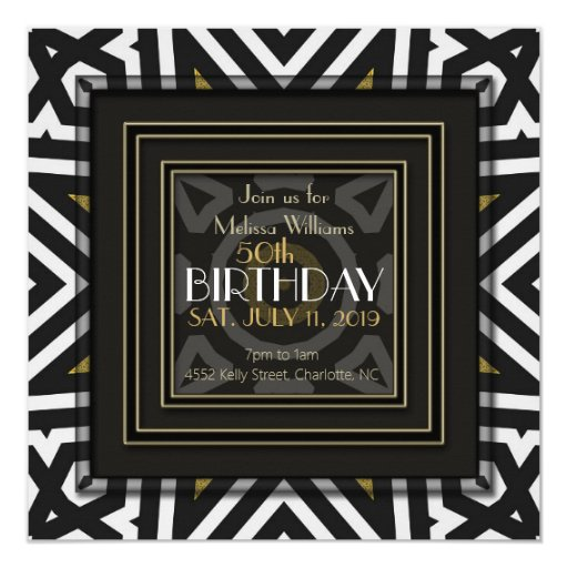 Cool Aztec Boho Black White Gold 50th Birthday Card