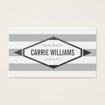 Aztec Themed COOL AZTEC BOHO LOGO striped simple grey Business Card