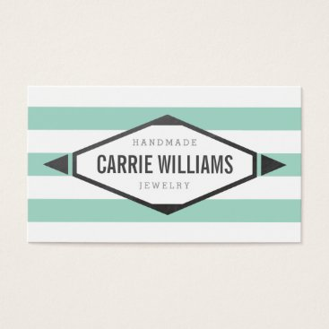 Aztec Themed COOL AZTEC BOHO LOGO striped simple mint grey Business Card