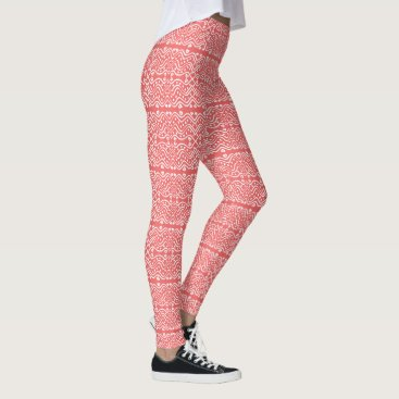 Aztec Themed Cool Aztec Style Peach & White Geometric Pattern Leggings
