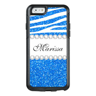 Cool Baby Blues Glitter White Zebra Stripe Pattern OtterBox iPhone 6/6s Case